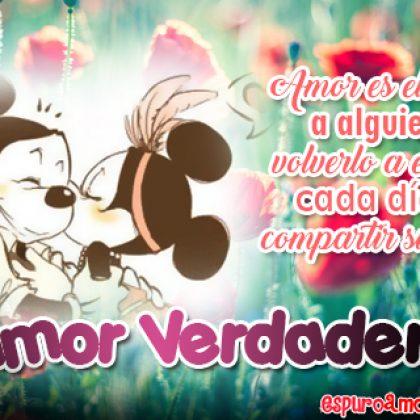 Tarjeta HD con Frase de Amor Verdadero con Imagen de Mickey y Minnie para Dedicar