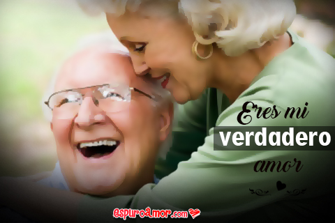 Frase de Amor Verdadero con Imagen de Pareja de Ancianos Animada en HD