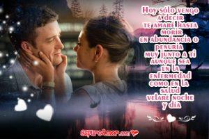 Frase de Amor con Imagen de Pareja de Enamorados que Se Amarían Hasta Morir