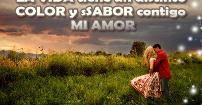 Frase de Amor con Imagen de Pareja para Dedicar a El Amor Hace de Colores El Día