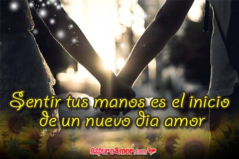 Frase de Amor en Bonita Tarjeta en HD con Imagen de Una Pareja de la Mano