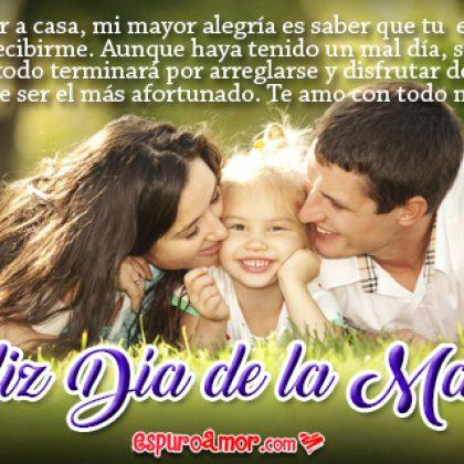 Tarjeta Día de la Madre para Dedicar a Mi Esposa con Frases de Amor con Imagen de Familia Unida