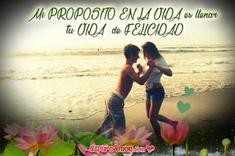 Imagen de Amor de Pareja de Enamorados con Frase de Amor en Bonito Atardecer de Playa