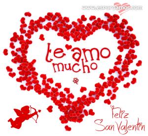 cartel de te amo mucho para san valentin formado de corazones