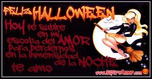 imágenes de amor para halloween con brujita en escoba