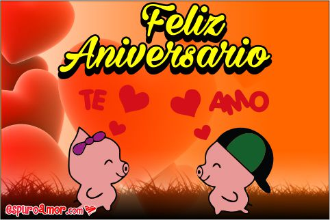 Te amo para aniversario con hermosos canchitos animados