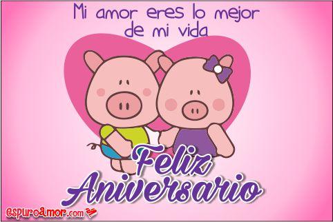 Dos chanchitos de parejita con un lindo corazón rosado de fondo