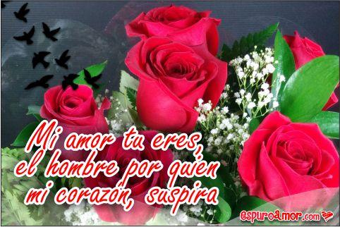 Flores en rosas rojas con pajaritos