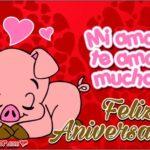 Tarjetas de Aniversario con Cerditos Enamorados para Novios