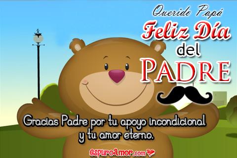 Feliz día de padre mensaje de agradecimiento con lindo oso