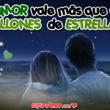 Imagen de Amor Animado con Cielo Estrellado y Bonita Frase de Amor